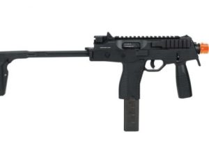 Right Side of Black KMP9 KWA Gas Airsoft Rifle with Orange Tip