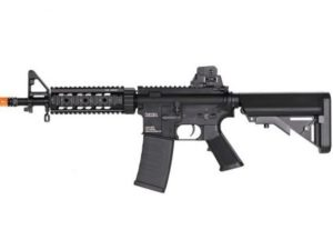 Left Side of SR7 2GX Black KWA Electric Airsoft Rifle with Orange Tip