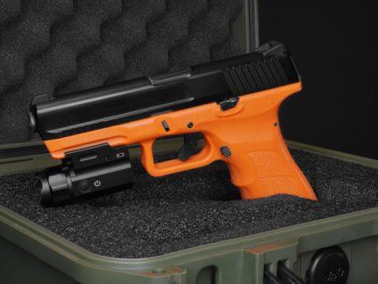 Left Side of Blaze Orange ATP-LE2 KWA Gas Airsoft Pistol in Case