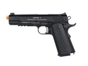 1911 MKII PTP Black KWA Gas Airsoft Pistol Left Side with Orange Tip
