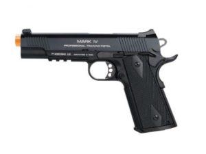 1911 MK IV PTP Black KWA Gas Airsoft Pistol with Orange Tip
